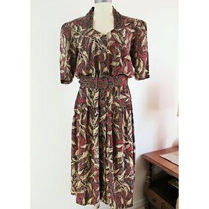 Vintage 80s Safari Belted Midi Dress